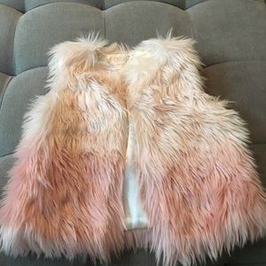 Genuine Kids by Osh Kosh pink ombré furry vest 2-3